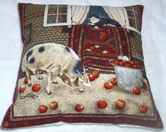 A black and white cat in the window with a pig in the courtyard cushion