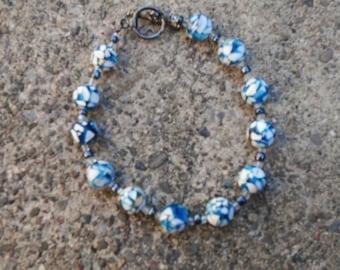 Beautiful Women's Blue And White Marbled Handmade Bracelet.