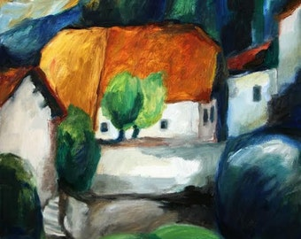 France landscape, Original oil painting, FREE SHIPPING