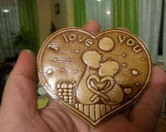 """Birch bark fridge magnet """"I love you"""""""