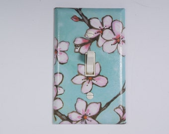 Decorative Cherry Blossoms Flower design single light switch plate cover