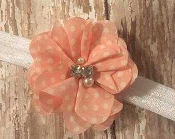 Peach polka dot headband