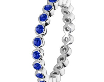 Blue Stone Ring 925 Solid Sterling Silver Round Stone Stacking Stackable Stack Band Women
