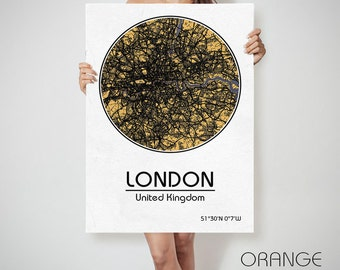 LONDON UK United Kingdom England map Europe City Street Map Art Print Poster City Graphical Map Wall Art Perfect Gift Home Decor Gift