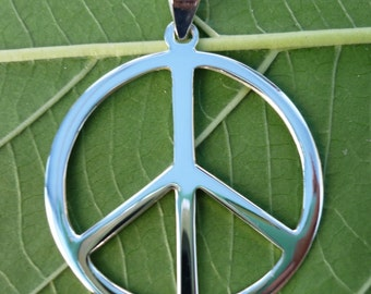 Sterling Silver Peace Sign Symbol Charm Necklace Pendants 31 mm width
