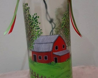 Hand painted wine bottle with lights