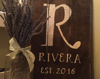 Hand Painted Name Sign - Established Date, Rustic