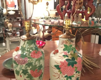 Pair of Gorgeous Early 20th C. Handpainted Ceramic Chinese Lamps