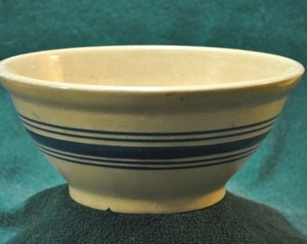 Stoneware Mixing Bowl, Clear Glaze With Blue Band