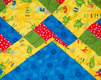 Bright baby quilt in primary colors with frogs. Free shipping!