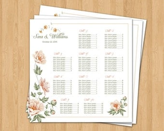 Wedding Seating Chart Poster Template | Printable Seating Plan, Seating chart Sign, Seating Board | Editable Ms word template | SC-042