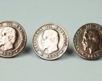Antique 19th Century French Coins Buttons Set Of Three Napoleon III 1853