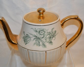 Arthur Wood Teapot with Green Florals Made in England Vintage Item #4084