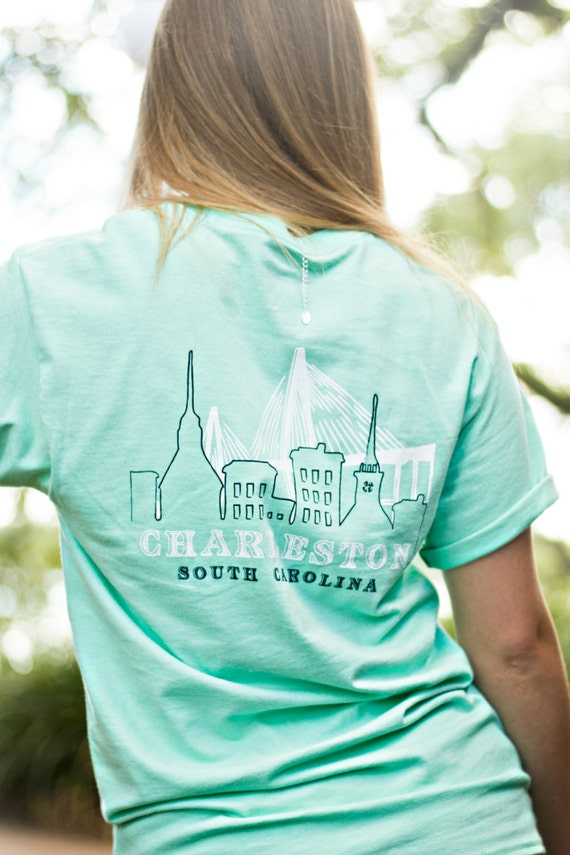 Charleston south carolina skyline tee screen printed adult for T shirt printing charleston sc