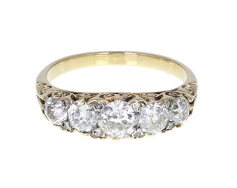Carved Gallery Set Five Stone Diamond Ring