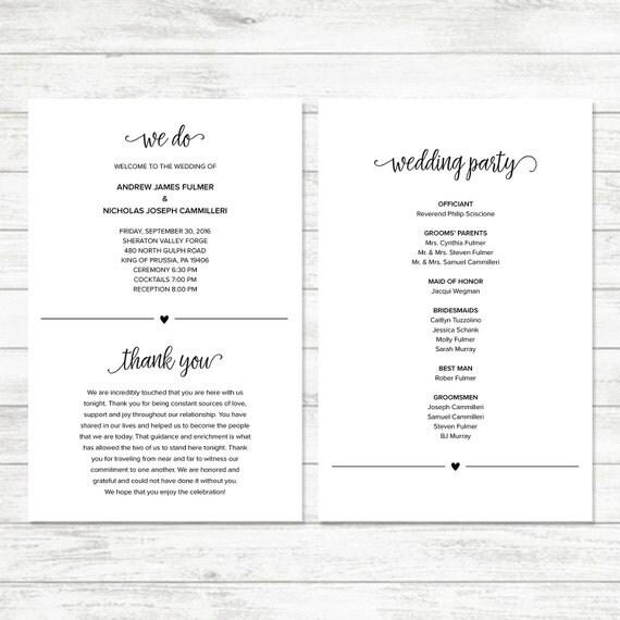Vistaprint Wedding Programs: Printable Wedding Program DIY Wedding Program Simple Wedding