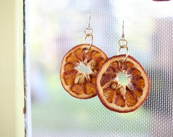 Real fruit earrings with seeds, clementine earrings, dried orange jewelry