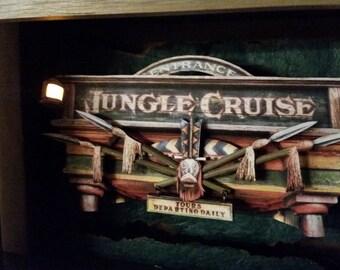 Jungle Cruise Entrance - LIGHTED - STOCK PHOTO - May vary slightly Adventureland Collection, Disney, Pop Art, 3D, Shadowbox, Handmade