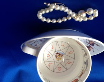 Royal Kendal Fortune Telling Teacup and Saucer with instructions