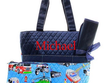 Personalized Diaper Bag/ Cars Diaper Bag/ Boy's Diaper Bag/ FREE MONOGRAM