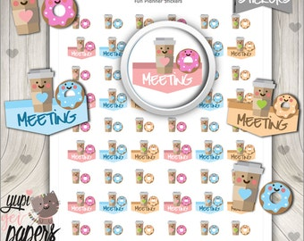 Meeting Stickers, Planner Stickers, Office Work Meetings, Meeting Reminder, Appointment Sticker, Coffe Stickers, Donut Stickers