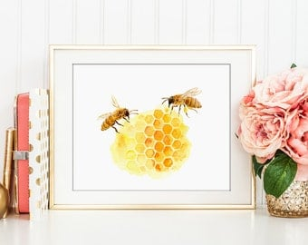 Watercolor bee keeping, honey bees and honeycomb print for Instant Download, printable, kitchen decor, art print, bee printable