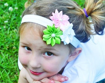 Baby Headband, Girl Headband, Flower Headband, Satin Flower Headband, Boutique Bow, Baby Bow, Girl Bow, Pink, Green, White, Headband, Bow