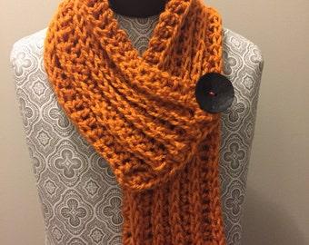 Buttoned orange scarf