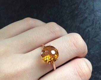 18k gold natural citrine ring,gold solitaire citrine ring,citrine engagement ring, anniversary gift ring