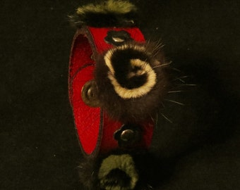 Red Leather Bracelet Leather Cuff Leather Wristband with Riveted Furry Flower and Leather Flower