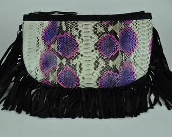 Genuine Exotic Python Clutch with Leather Fringe