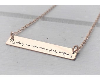 Actual Handwriting Bar Necklace - Gold Bar- Rose Gold- Gold Filled- Signature Necklace - YOUR HANDWRITING- Personalized Engraved- Meaningful