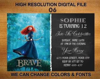 Merida Brave Invitation - Brave Birthday Party Invitation - Brave Birthday Party Invitation - Brave Invitation - Merida Invite MS6