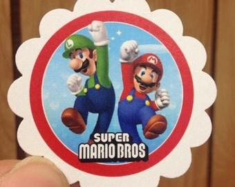 Lot of 30 Super Mario & Luigi Treat Tags Thank You Tags