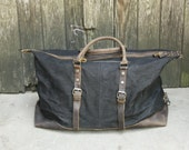 Leather Waxed Canvas Duffle Bag ( Black)