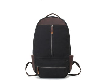 Vintage Style Leather Canvas Backpack  (Black)