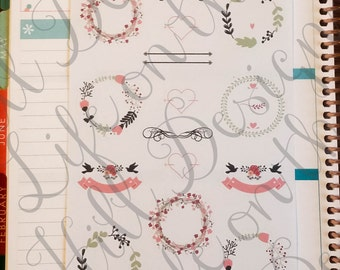 Planner Stickers- Floral Wreaths 16 ct IC155