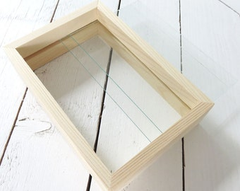 Natural wooden double standing glass floating frame, musthave for DIY projects