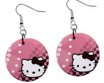 Hello Kitty Dangle Button Earrings (E13)
