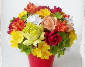 Floral arrangement handmade clay