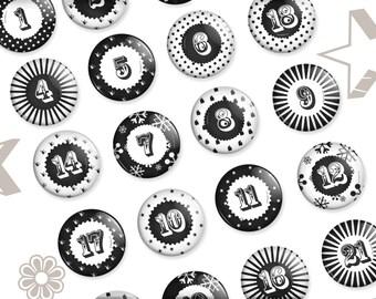 Advent Calendar Buttons 2.3 cm