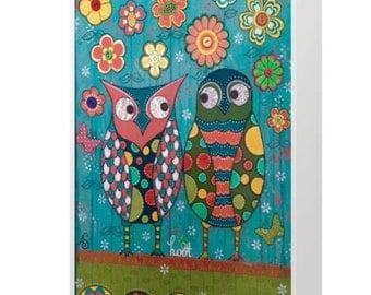 BLANK CARD 'Hoot' ~ mixed media artwork by Amanda Stelcova