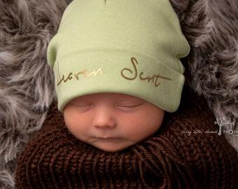 Heaven Sent newborn hat...newborn baby hat...sage newborn hat...new baby hat...gender neutral hat...take home hat...newborn photo prop hat