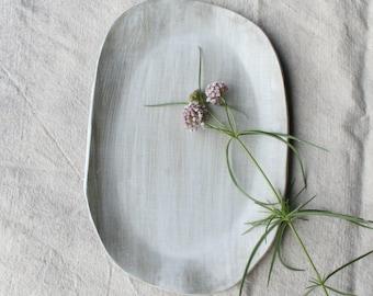 Serving Platter, Serving Tray,  Satin White Glaze on Chocolate Stoneware, Ceramic Tableware, Handmade