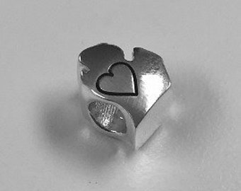 Michigan Mitt with Outlined Heart Sterling Silver Bead Fits Pandora Style Charm Bracelets