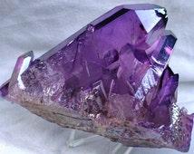 Purple Quartz Crystal Mineral Specimen - 13.4 OZ Violet Purple Aura Flame Crystals - Chakras, Healing Stone, Reiki, Display, Free Shipping