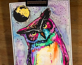 The Night Owl (#3 of 5); Screenprint and watercolor original colorful artwork from Missoula,Montana. Great gift idea for bird lovers