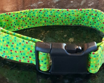 Lime Green Dots Dog Collar