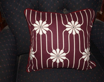 Retro cushion cover purple white flowers