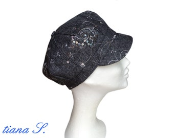 Tweed cap with sequins, black, Gr. 56